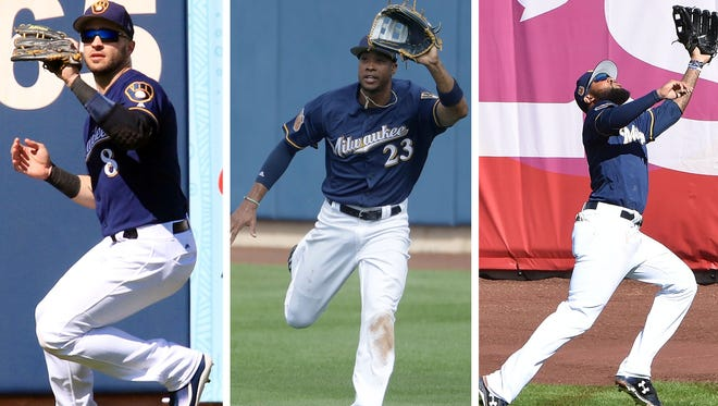 The Brewers starting outfield shapes up to be veteran Ryan Braun in left, blossoming Keon Broxton in center and rightfielder Domingo Santana.