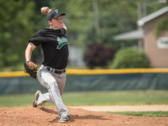 Yorktown's Sully Swingley throws a pitch to Norwell