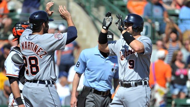 The Tigers' J.D. Martinez, left, and Nick Castellanos (9) can expect a stiff challenge from the Indians in the American League Central Division.