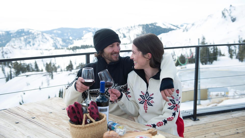 Couple dining at Squaw Valley Alpine Meadows.