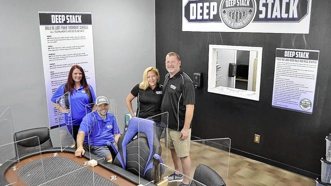 Deep Stack Poker and Card Room staff members include (from left) Sara Fellner, Jason Ogden and co-owners Theresa Smith and Randy Clinger. The facility is expected to open Friday, Sept. 18, at 3814 Fishinger Blvd., just outside Hilliard.