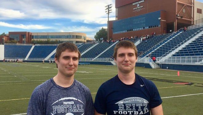 Josiah (left) and Isaac Goudreau are senior twins on the Reitz football team.