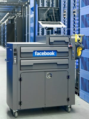 A mobile diagnostic center in the Facebook data center in Forest City.