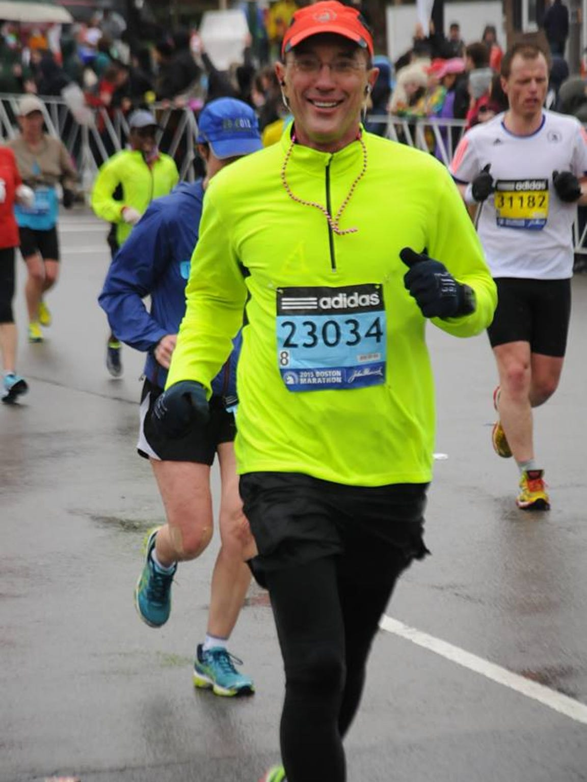 Steven Heithoff completes the Boston Marathon.