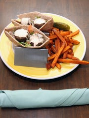 Falafel sandwich with sweet potato fries at Silver