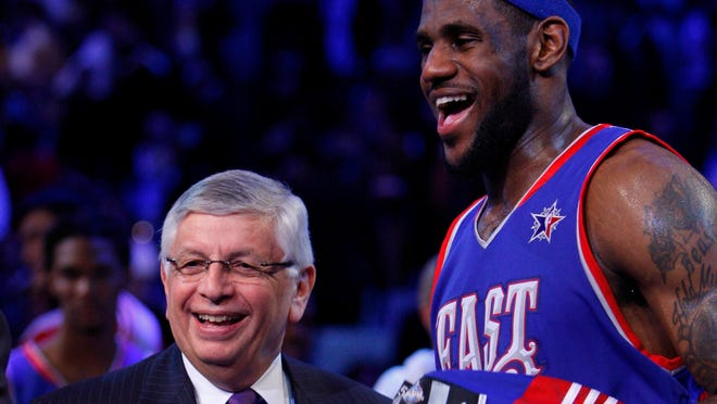 LeBron James (right) is hoping that when  David Stern's tenure as NBA commissioner ends, he can toss ideas out to the new man Adam Silver.