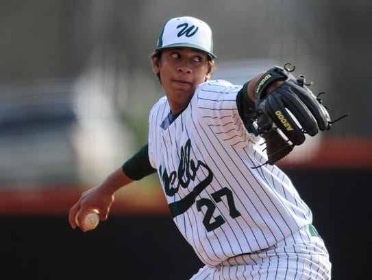 WebbÕs Mason Patel (27) pitches during a game between