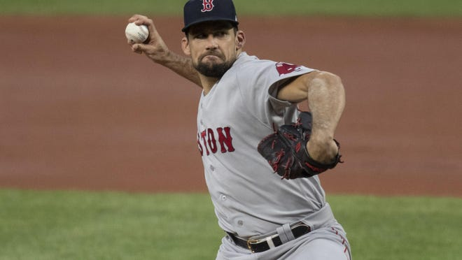 Red Sox starting pitcher Nathan Eovaldi -- shown in an Aug. 20 game at Baltimore in which he gave up just one earned run over seven innings -- has been placed on the 10-day injured list.