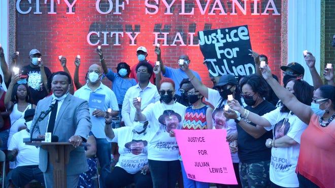 The Aug. 14 vigil for Julian Lewis in downtown Sylvania.