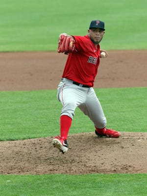 Darwinzon Hernandez worked in simulated game action at McCoy Stadium on Sunday.
