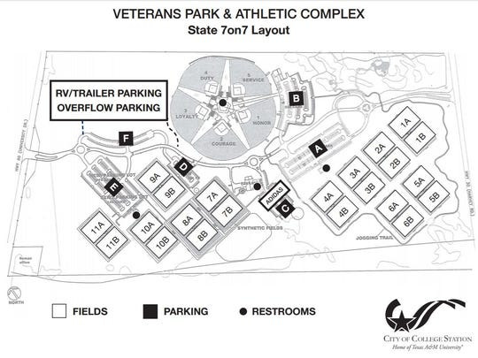 A map of Veterans Park & Athletic Complex, site of the state 7on7 football tournament.
