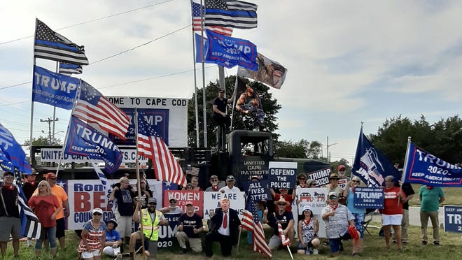 United Cape Patriots, founded by Adam Lange, teamed with Women for Trump to hold a standout last Sunday at the Bourne Rotary.