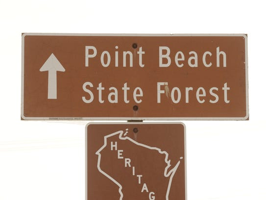 File - Point Beach State Forest sign.