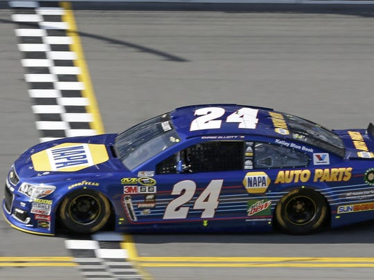 Chase Elliott crosses the finish line to qualify for the pole position for the Daytona 500 on Sunday at Daytona International Speedway.