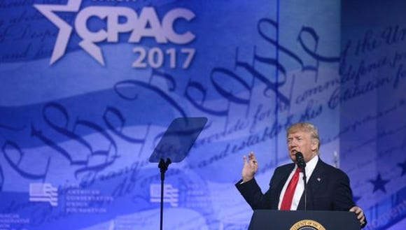 President Donald Trump at CPAC Friday.
