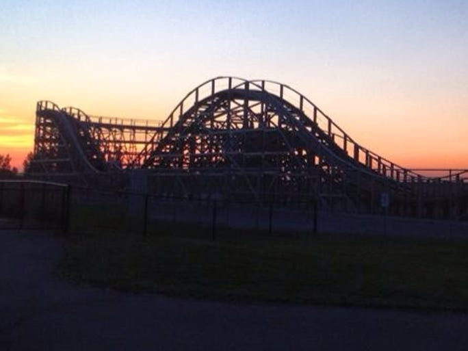 A view of the sunset over the Zippin' Pippin' at Bay
