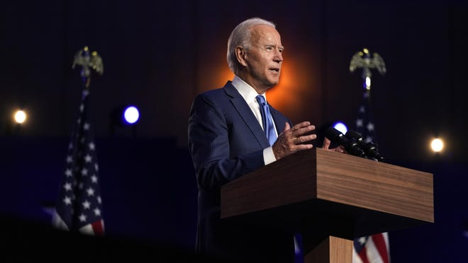 Democratic presidential candidate former Vice President Joe Biden speaks Friday, Nov. 6, 2020, in Wilmington, Del.
