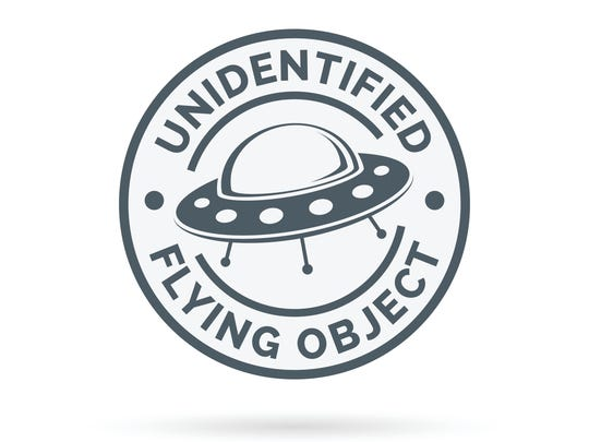 UFO icon. Unidentified flying object badge. Flying saucer symbol. Alien spaceship sign.