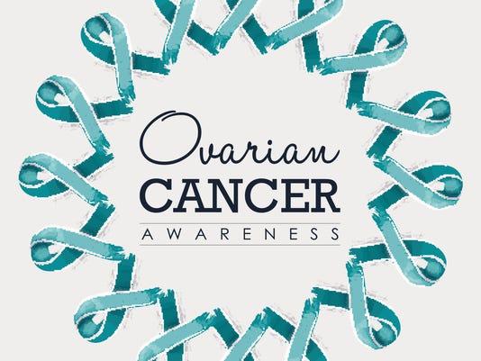 Ovarian cancer awareness ribbon design with text