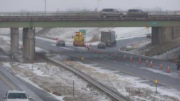 The Thruway heading west from Henrietta is closed. Vehicles are being directed off the expressway, near the Middle Road overpass,