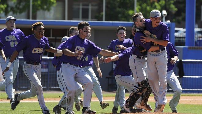 The CPA baseball team celebrates last season's Class AA championship win.