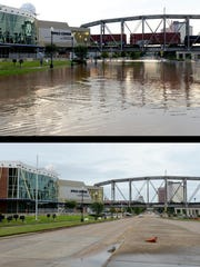 TOP: Floodwaters from the Red River have gone past the Clyde Fant Parkway and up to Sci-Port. BOTTOM: The same site a week later.