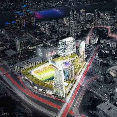 Rendering provided by Rock Ventures shows Dan Gilbert's plans for the Hudson's site on the right.