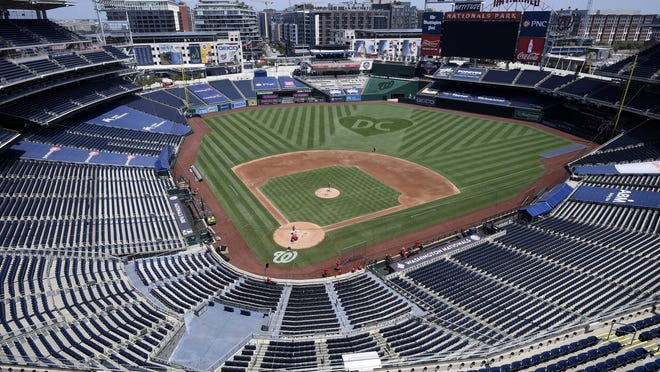 An overall view of  Nationals Park before the defending World Series champion Washington Nationals open the regular season.