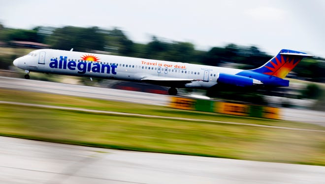 An Allegiant Air flight takes off at McGhee Tyson Airport in Alcoa, Tennessee on Wednesday, June 20, 2018.