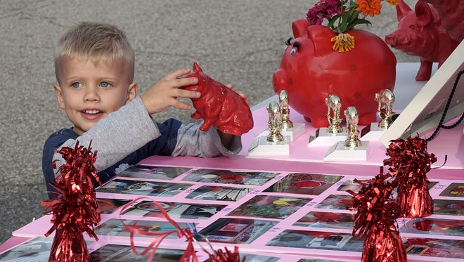 Three-year-old Bryson Brothers checks out some of the contest entries.