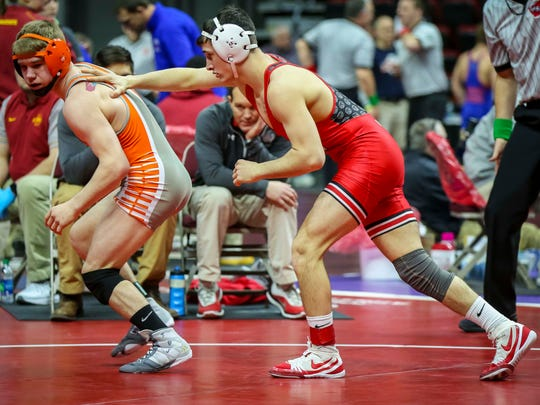 Michael Blockhus (NHTV) defeated Easton Graff (Sergeant Bluff-Luton) in their Class 2A 138 pounds quarterfinal match Friday, Feb. 16, 2018, at the Iowa state high school wrestling tournament at Wells Fargo Arena in Des Moines, Iowa.