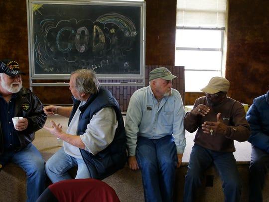 Vietnam Veterans, Tom Richards, left, Wayne Albin,