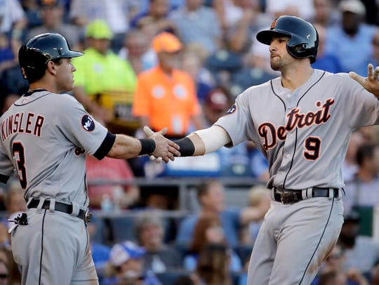 Tigers third baseman Nick Castellanos (9) celebrates