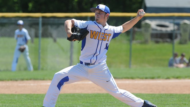 West Muskingum's Dylan Lyons delivers a pitch in the third inning of a 5-1 district finals loss to Ridgewood on Saturday at River View High School in Warsaw.