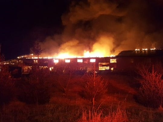 Fire destroyed the Sunnyburn Welding shop at 32 W. Telegraph Road in Lower Chanceford Township on Jan. 31, 2017. (Photos courtesy of South County Fire Photos)