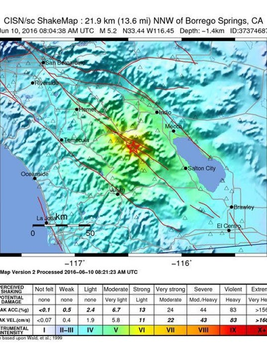 Southern California Rocked By Magnitude52 Earthquake - Map Of Earthquakes Us