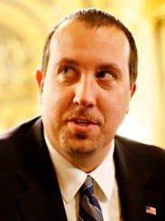 Pennsylvania State Rep. Seth Grove reacts to Gov. Tom