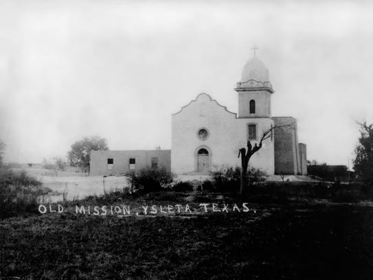 A historical photo of the Ysleta Mission provided by