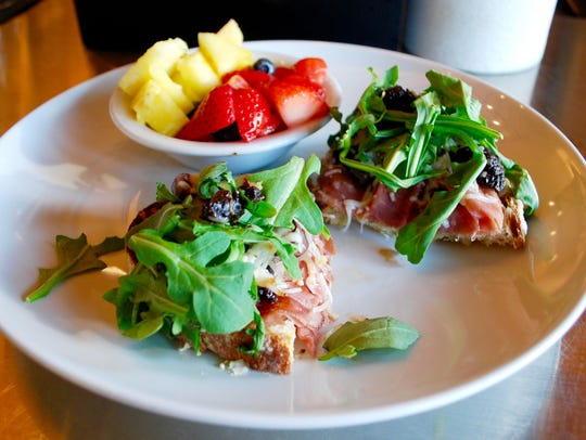Milk & Honey: Fig-Prosciutto-Arugula Toast and fruit
