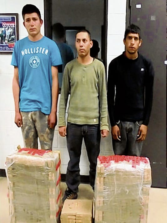 Courtesy Photo   Three Mexican Nationals were apprehended in the desert near Columbus with a load of marijuana bundles. The three subjects were identified as Luis Alfonso Paredes Grijalva, 25, Miguel Angel Ochoa Espinoza, 21, and 19-year-old Jose Alfredo Perez-Duran from Mexico. The load of marijuana weighed 108.8 pounds, valued at 87,040.