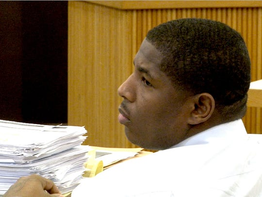 Alleged gang member James Fair is shown during his trial, along with Asbury Park police officer Keith German and Haneef Walker, before Judge Joseph W. Oxley in Freehold Tuesday, June 13, 2017.