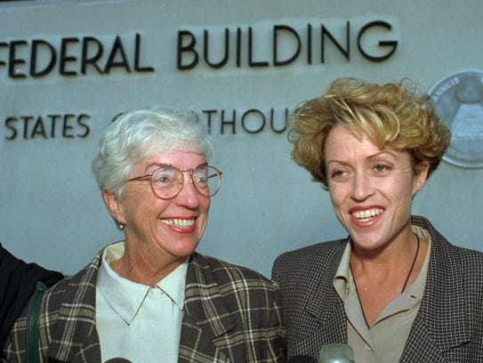 Paula Coughlin, right, and her mother, outside the federal court building in Las Vegas in October 1994. Today Coughlin serves on the board of Protect Our Defenders, an advocacy group for victims of sexual assault in the military.