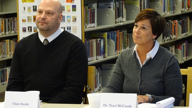 Fremont City Schools Superintendent Traci McCaudy and OFCC representative Chris Smith discuss state funding that could go toward building new schools in the district.