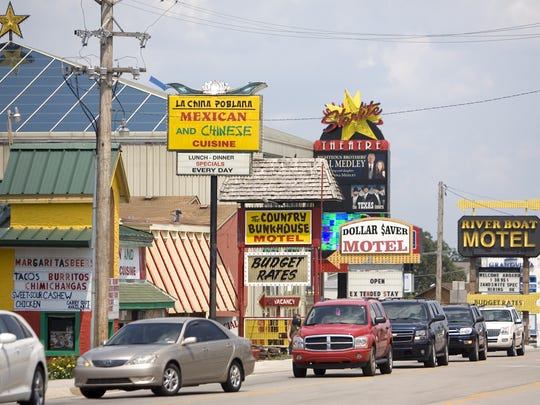 A 2011 view of Highway 76 in the heart of Branson.