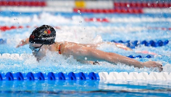 Kelsi Worrell missed out in the semifinals of the 100-meter butterfly by .03 seconds.