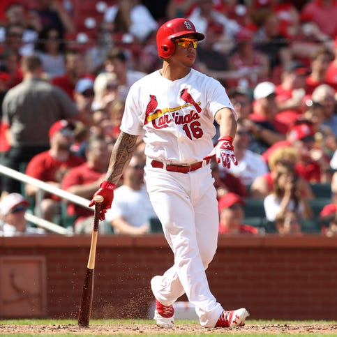 St. Louis Cardinals Kolton Wong swings hitting a two run home run in the seventh inning against the Pittsburgh Pirates at Busch Stadium in St. Louis on September 1, 2014. UPI/Bill Greenblatt