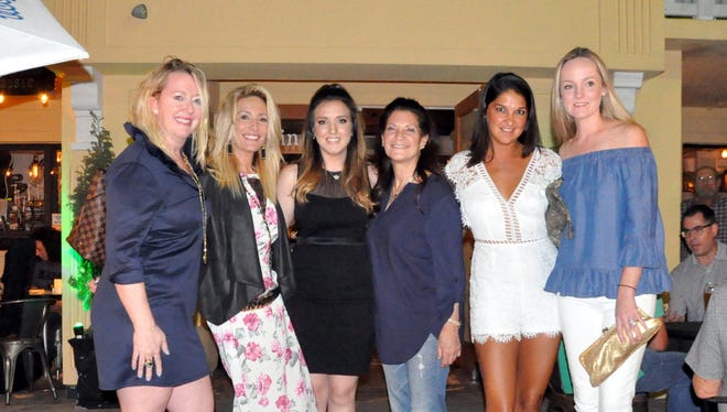 """From left: Indian River County Chamber of Commerce Special Projects Director Kelly Holm; """"Below Deck"""" cast member Kate Chastain, Grind & Grape owners Ashlee Wykoff and her mother Barbaralee Monday, """"Below Deck"""" cast member Connie Arias and Whitney Delavaut"""