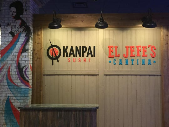 The entrance to Kanpai Sushi and El Jefe's Cantina, two new restaurants at Circus Circus Reno that share a stylish soaring space.