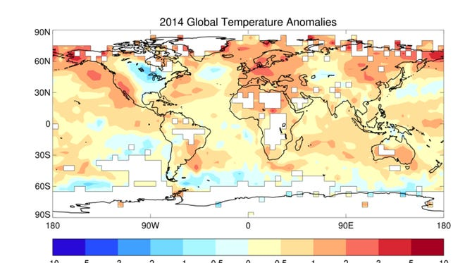 Almost the entire world saw warmer-than-average temperatures in 2014 (in red and orange on this map). Central and eastern North America saw unusually cool temperatures (in blue).