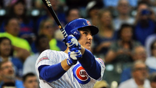 Chicago Cubs first baseman Anthony Rizzo (44) hit a walk-off home run in the ninth inning against the Cincinnati Reds at Wrigley Field.